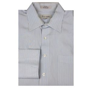 John W. Nordstrom Blue White Stripe Dress Shirt